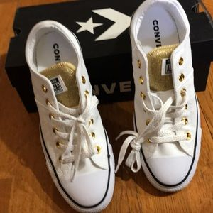 NIB white and gold Converse sneakers